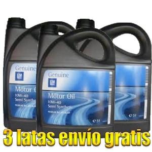 Aceite coche 10w40 Opel-GM 5Ltrs -LOTE 3 LATAS-