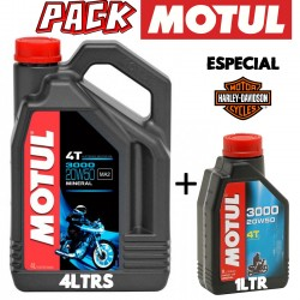 Pack aceite moto 4t Motul 3000 20w50 4ltrs + 1Ltr