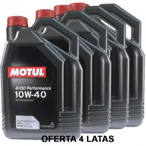 Motul 4100 Performance 10w40 5L -LOTE 4 LATAS-