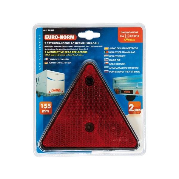 Refelctante triangular rojo 160mm 2Pzas