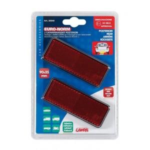 Reflectante rectangular rojo 90x35mm 2Pzas - ACCESORIOS COCHE -