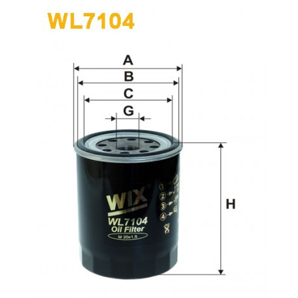 Filtro aceite Wix WL7104