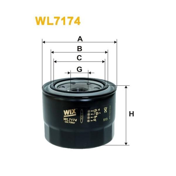 Filtro aceite Wix WL7174