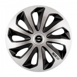 TAPACUBOS SPARCO BICOLOR PLATA NEGRO 15""
