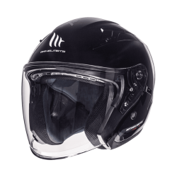 CASCO JET SOLID NEGRO BRILLO MT HELMET