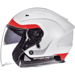 CASCO JET CROSSROAD BRILLO BLANCO ROJO MT HELMET