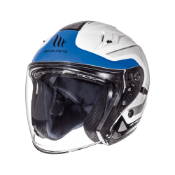 CASCO JET CROSSROAD BRILLO BLANCO AZUL MT HELMET