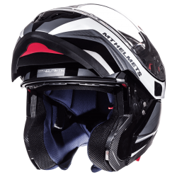 CASCO TARMAC NEGRO BRILLO BLANCO MATE MT HELMET