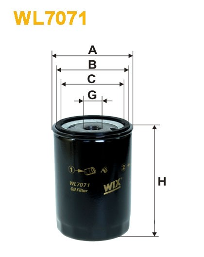 Filtro aceite Wix WL7071